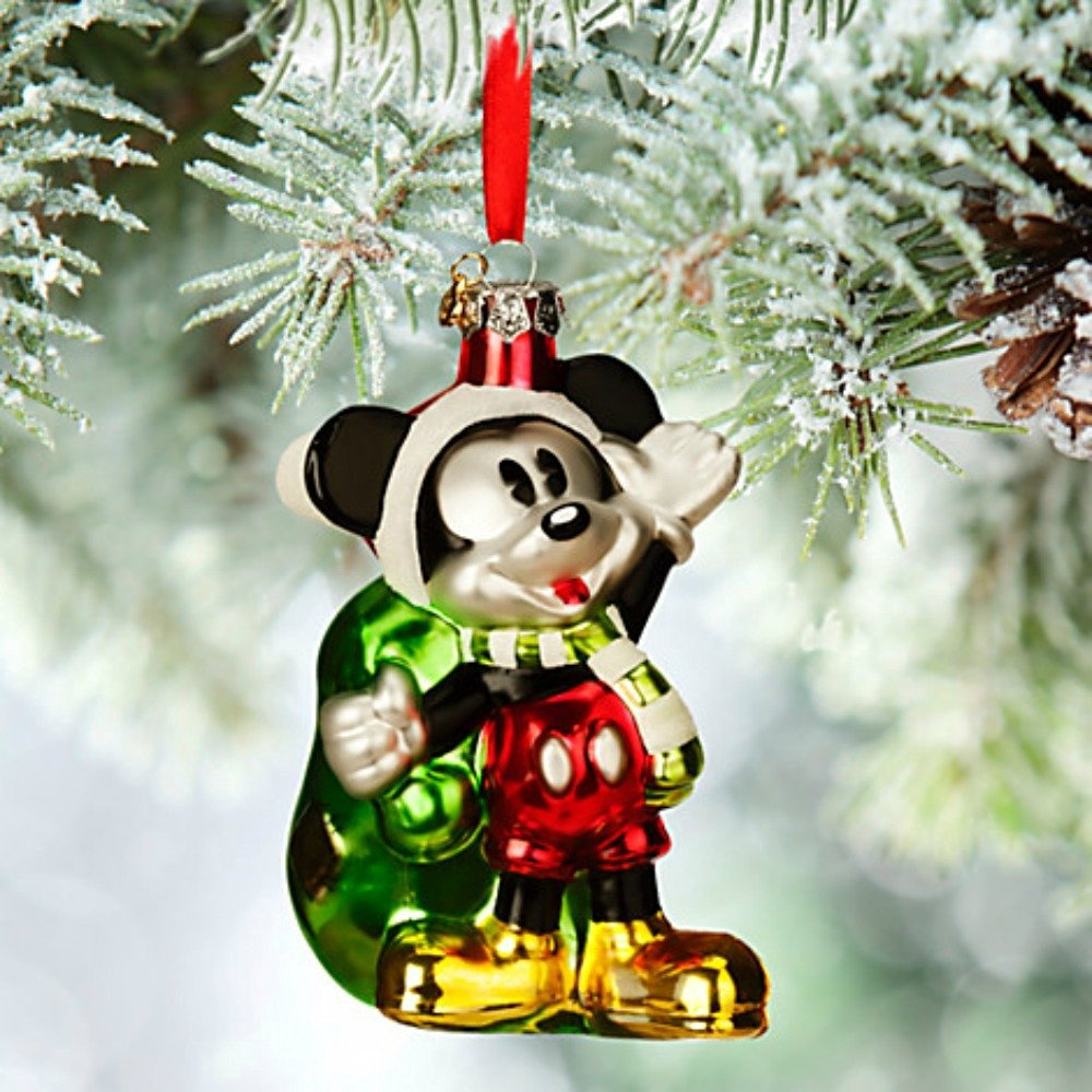 get quotations disney santa mickey mouse glass sketchbook christmas ornament - Mickey Mouse Ornaments Christmas