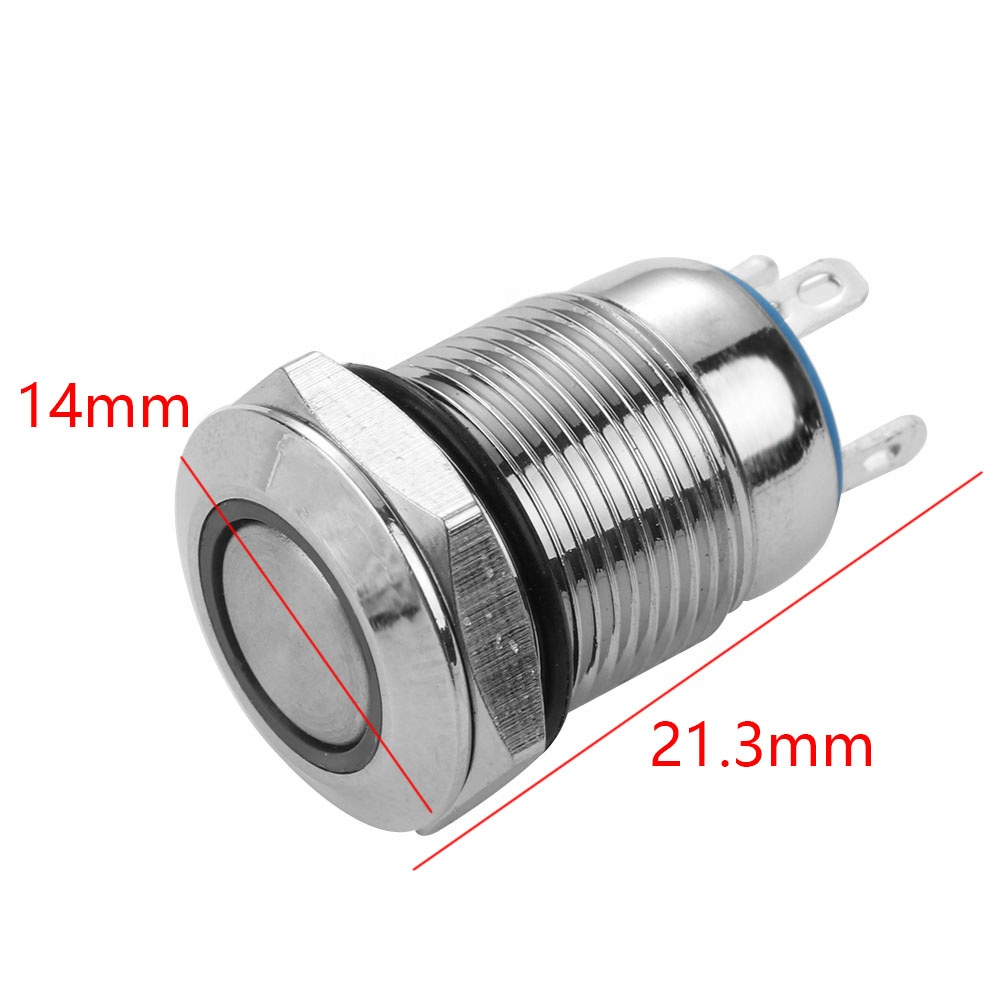 Metal Round Push Button Momentary Horn Waterproof Resetable Switch 12mm QN12-A3