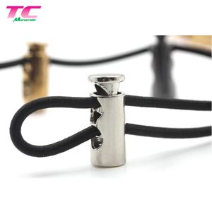 Custom Metal Garment Stopper Accessories Thread Drawstring Cord End with Metal Spring Rope Toggle Stopper for Cord Lock