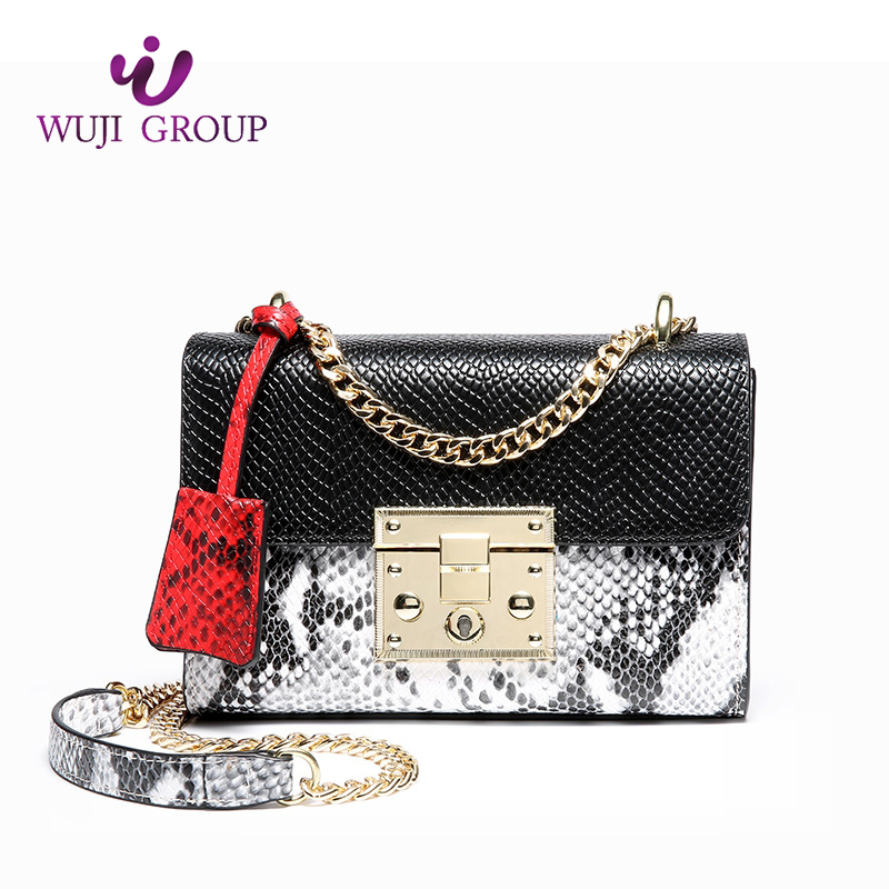 Latest design fashion ladies handbags mini bags python emboss crossbody with chain strap