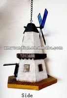Windmill solar light with bird feeder