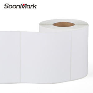 Custom white glossy blank adhesive barcode square roll stickers paper label 76x76mm for inkjet printer