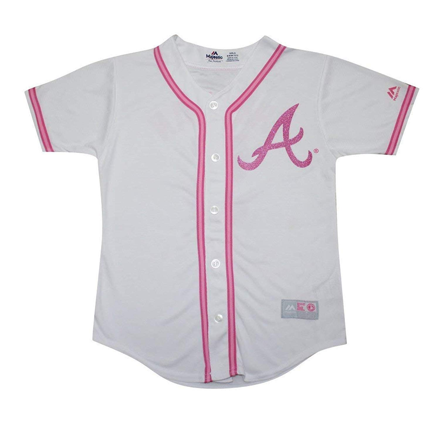 f38dbffb2 Get Quotations · Outerstuff Atlanta Braves Blank Girls Kids Youth White  Pink Cool Base Jersey