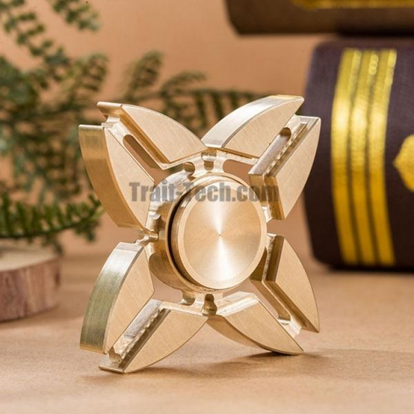 EDC Brass Hand Spinner Finger Spinner Focus Game Novelty Gift Decompression Toy Four Blades Golden