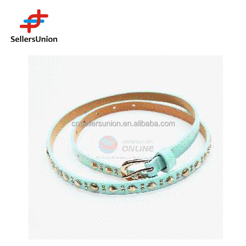 No.1 yiwu commission agent Thin PU belt with rivets for women