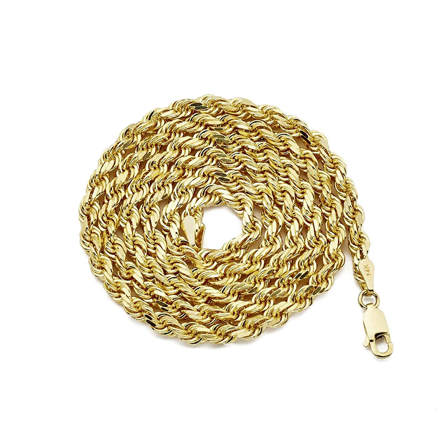 LOVEBLING 14K Yellow Gold 4mm Solid Diamond Cut Rope Chain Necklace Lobster Lock