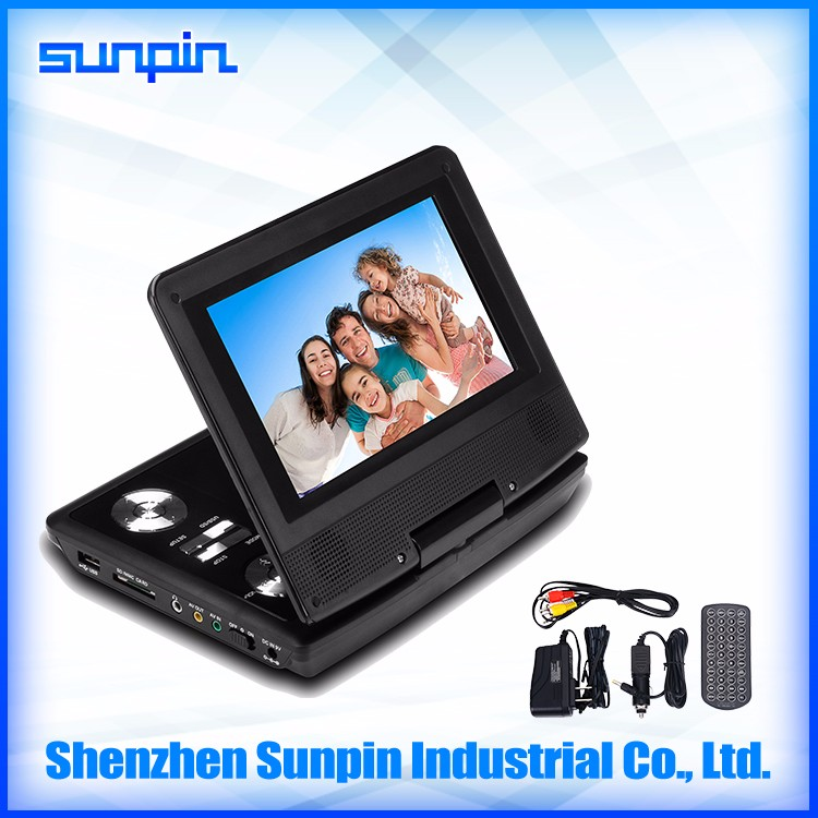 New cheap foldable 270 Swivel 7 inch portable DVD player