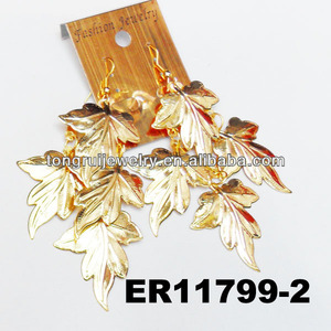wholesale hot sell stylish gold plated leaf design chandelier earrings for women