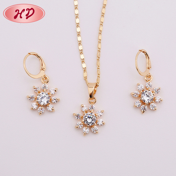 American Beautiful Designer Gold Diamond Earring And Necklace Set