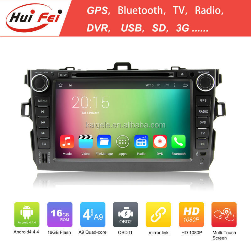 Huifei Quad Core Android 4.4 Capacitive Screen 1024*600 In Car Entertainment Car Dvd Player For <strong>Toyota</strong> <strong>Corolla</strong> Verso