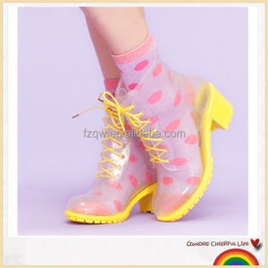 Women high heel PVC clear rain boots
