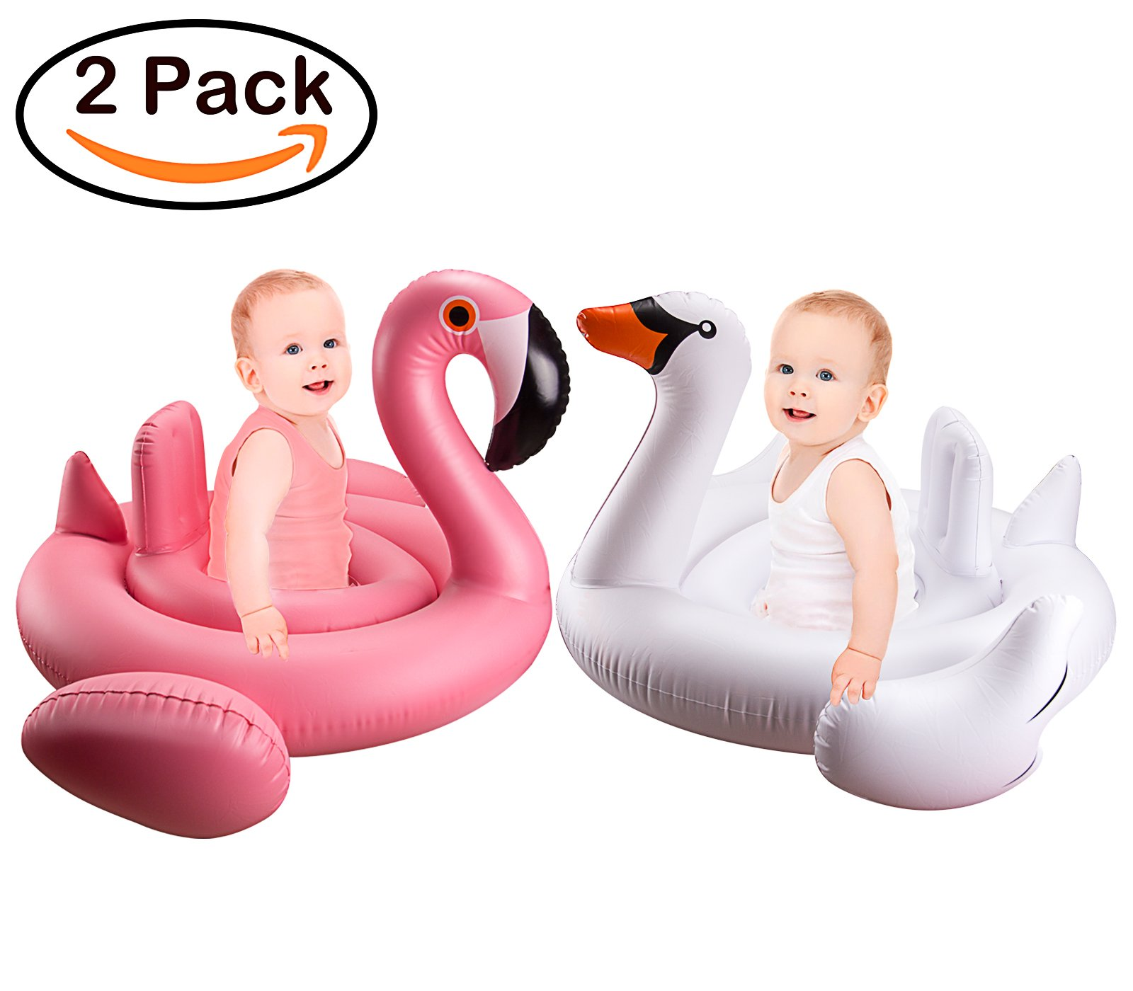 R ? HORSE Baby Flamingo Inflatable Pool Float - 2 Pack Inflatable Baby Infant Flamingo Swim Ring Pool Float - Popular Baby Infant Swimming Toy - Learn Swimming for Aged 6-36 Months, 36 x 26 Inch