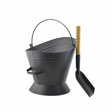 Large Metal Ash Bucket for Fireplace Coal hod or Pellet Bucket Carrier in Power Coated for Wood Stove Black