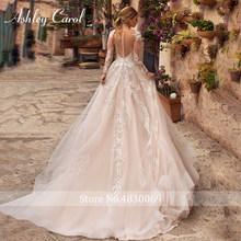 Эшли Карол сексуальное свадебное платье с v-образным вырезом и аппликацией из тюля 2020 Иллюзия спинки с длинным рукавом принцесса Бохо невес...(Китай)