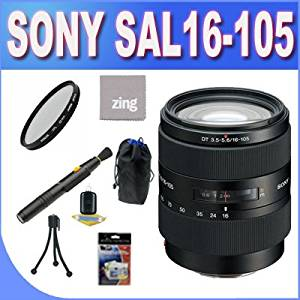 Sony SAL16105 16-105mm f/3.5-5.6 Wide-Range Zoom Lens + UV Filter + Lens Pouch + Zing Microfiber Cleaning Cloth + Lens Pen Cleaner + Lens Accessory Package