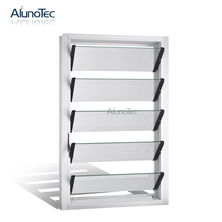 Price of Glass Louvre / Aluminium Commercial Framed Glass Louvre Windows / Exterior Window Shutters