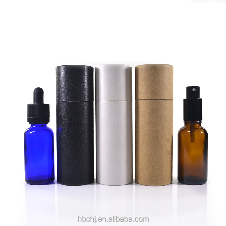 100% Gerecycled custom lederen oppervlak cilinder vorm papier buizen voor 10 ml 15 ml 20 ml 30 ml dropper of spray flessen