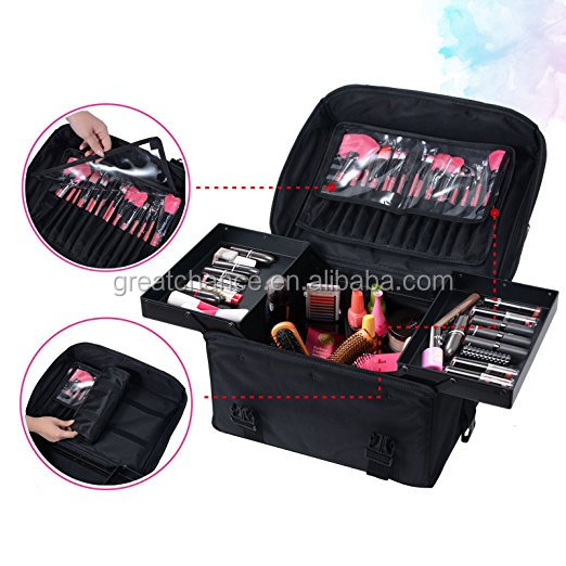 Rolling Makeup Case Trolley 2 in 1 Travel Cosmetic Train Cases on Wheels - Nylon Black Bags for Professional Make Up Artist