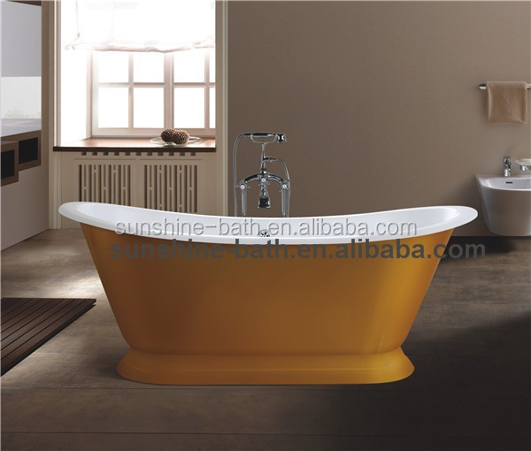 cast iron bath tub in stainless steel skirt-Source quality cast iron ...