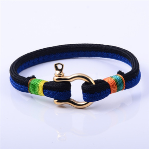 Hot Sell Mens Two Color Rope Nylon Nautical Anchor Shackle Bracelet
