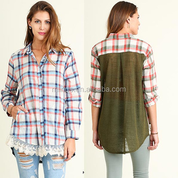 6d031b60 Ladies New Stylish Casual Tops Plaid Woven Button Up Long Sleeves Fashion Lace  Trim Shirt Women