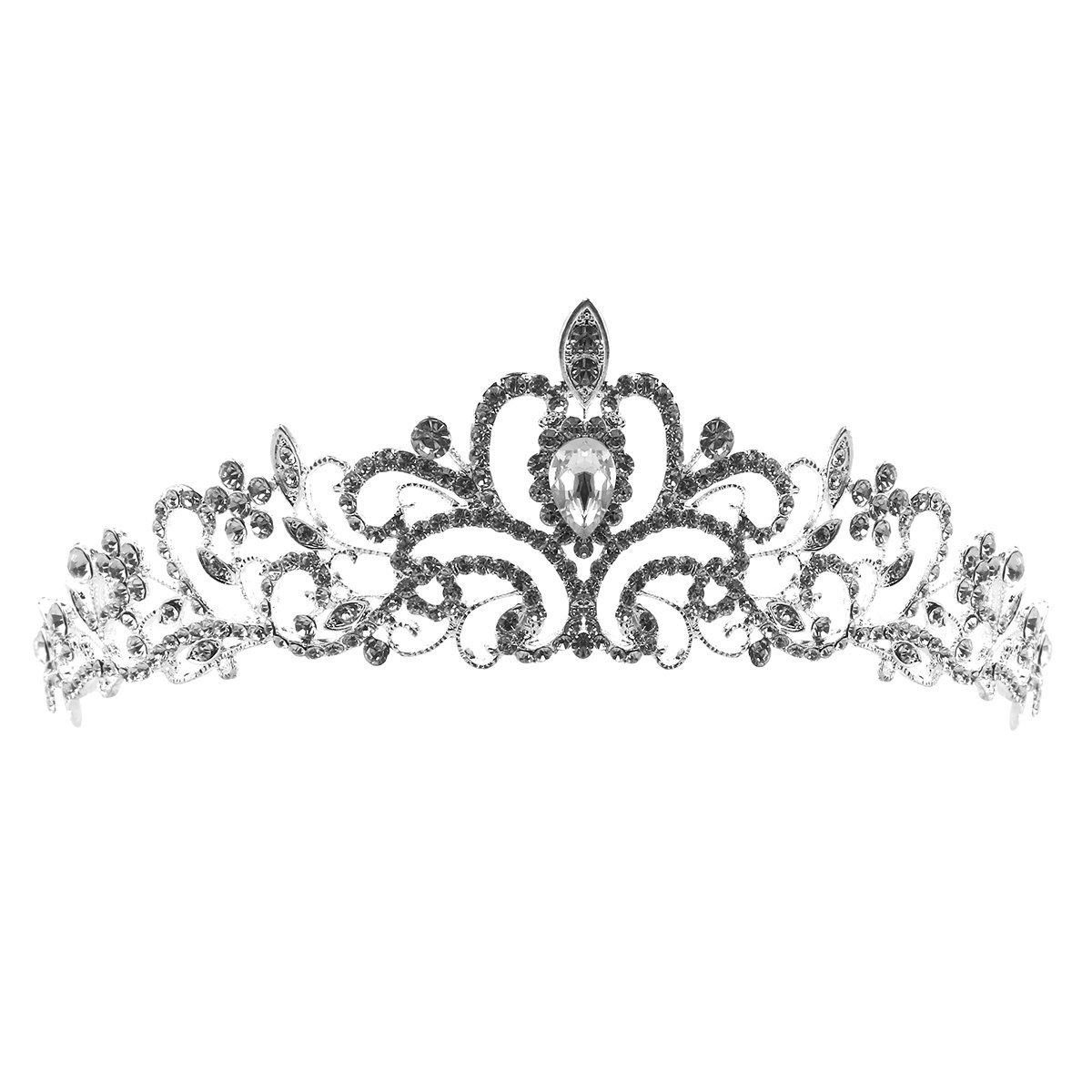 Pixnor Delicate Wedding Bridal Prom Shining Crystal Rhinestones Crown Tiara Headband (Silver)
