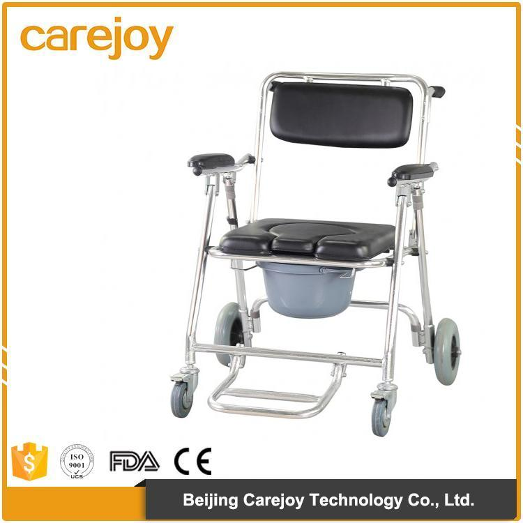 2017 HOT SALE Mobile Commode Chair with 4 brakes, Wheels & Footrests Wheelchair Toilet