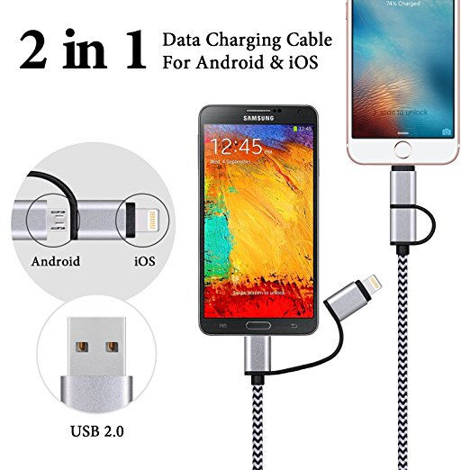 Multi Nylon Braided Dual Micro Cable 2 in 1 High Speed USB 2.0 Universal USB Charger Cable for iPhone for android