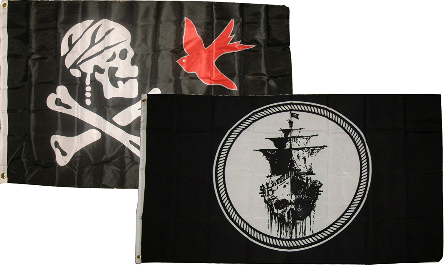 3x5 3'x5' Wholesale Combo Jolly Roger Pirate Jack Sparrow Black Pearl Flags Flag House Banner Grommets Double Stitched Metal Eyelets For Hoisting Fade Resistant Premium Quality