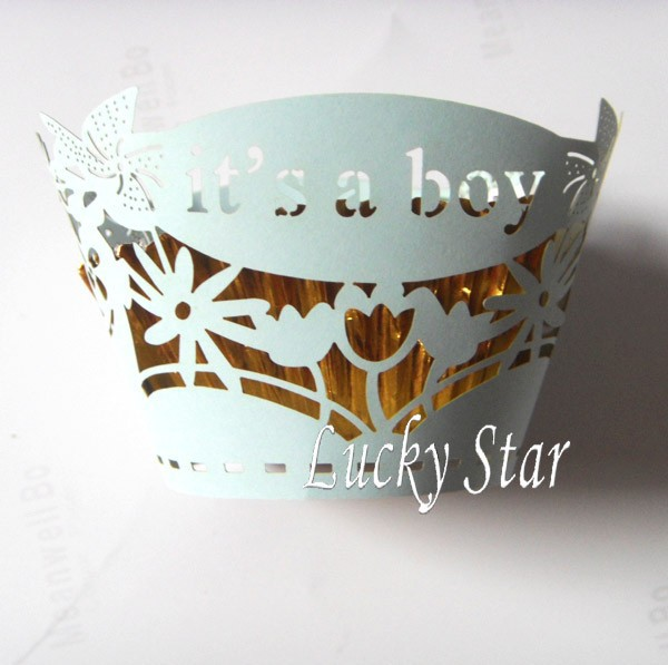Laser cutting paper Cupcake Cups Wrapper its a boy light blue custom Cupcake wraps cake Cups box for Birthday Party Decorations