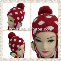 Strawberry Sweetheart crochet knit winter ear hat free knit pattern for hat earflaps