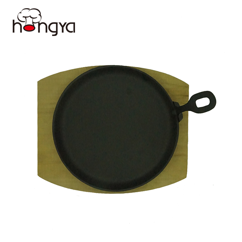 Vegetable oil Preseasoned Cast iron sizzler plate with wood plate