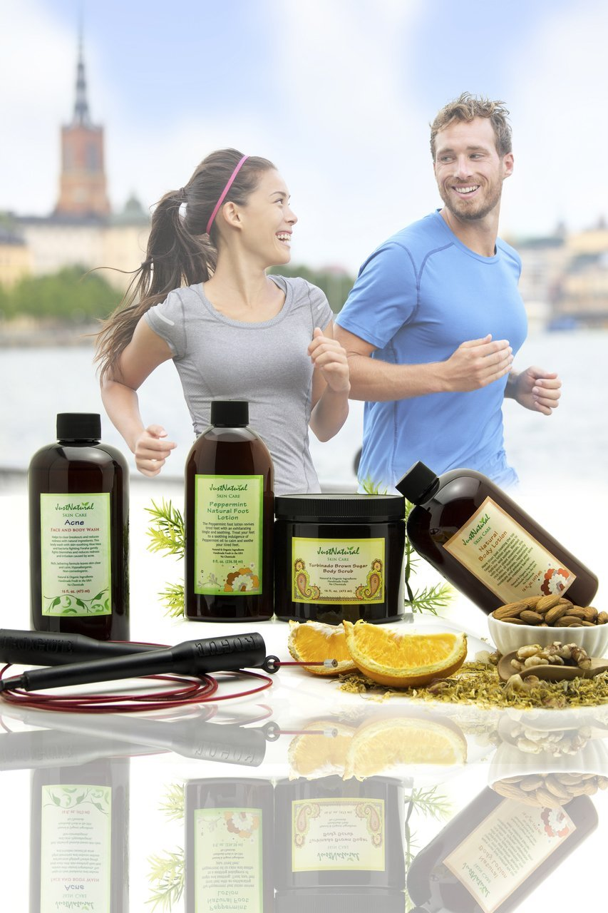 Active Lifestyle Kit | Acne Face and Body Wash | Turbinado Body Scrub | Natural Body Lotion | Peppermint Foot Lotion | The Best Kit for Active Lifestyle