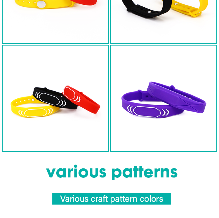 Custom Free sample Silicone F08 HF RFID logo wristbands