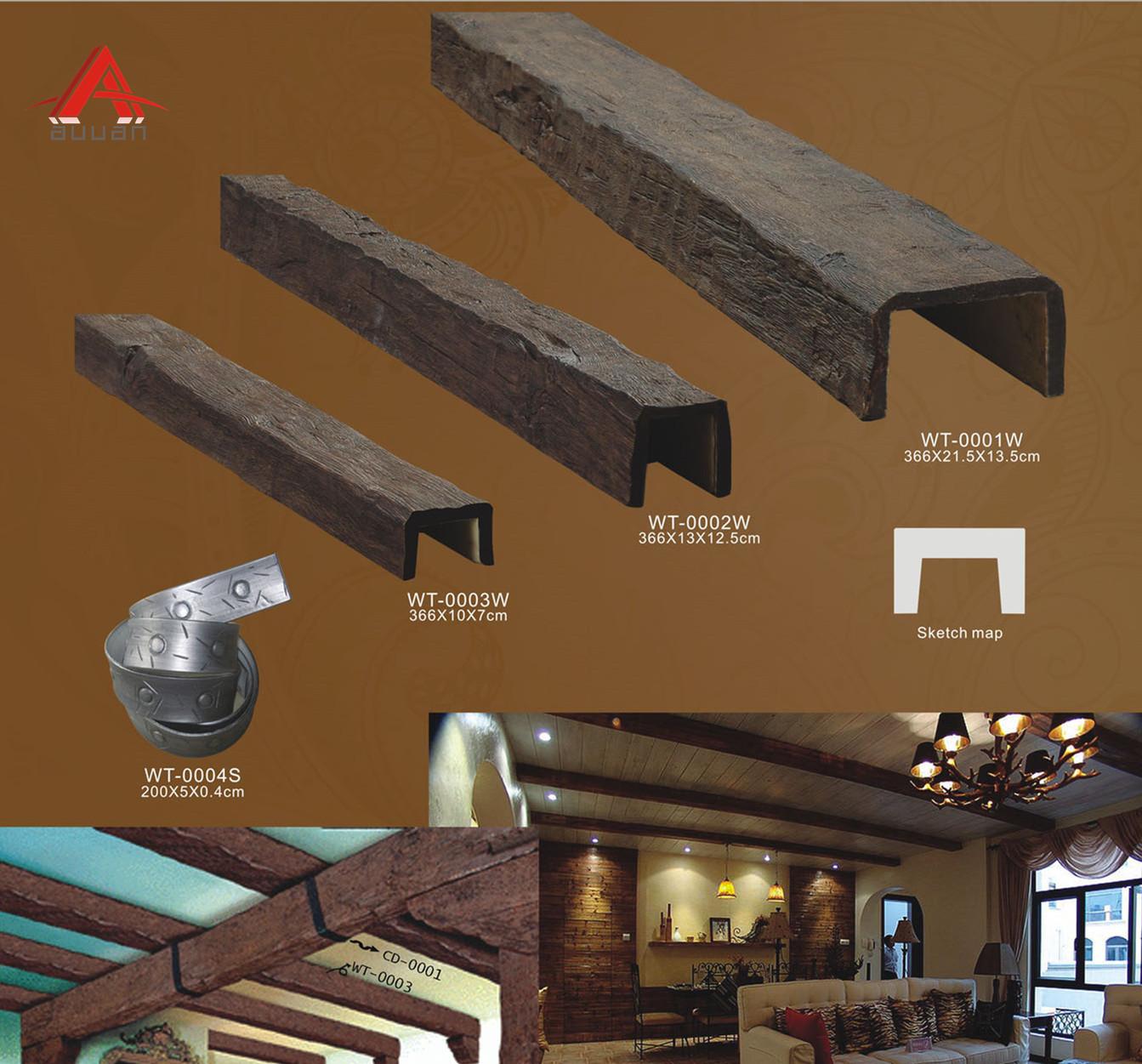Китай дешевые ПУ искусственной Пластиковые Деревянные потолочные балки для украшения