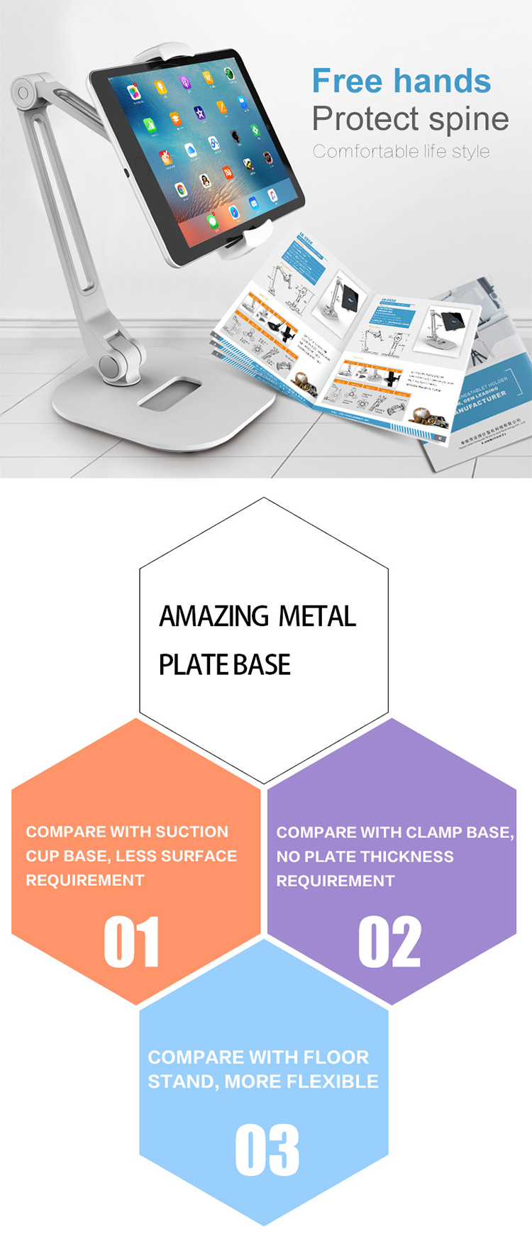 Universal Tablet Pc Stand Mount Flexible Aluminum Kitchen Desk Bed ...