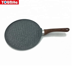 marble coating wooden handle press aluminum round griddle