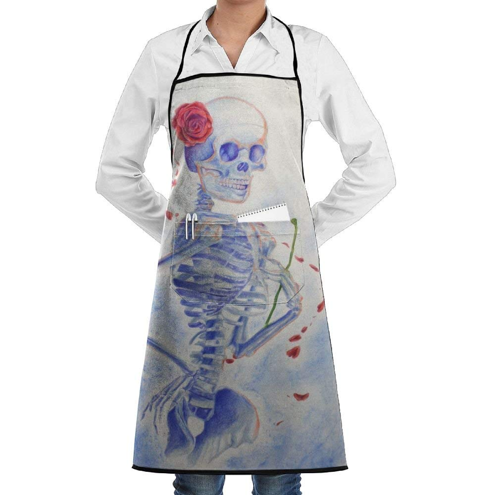 Flower Skull Skeleton Apron Lace Unisex Mens Womens Chef Adjustable Polyester Long Full Black Cooking Kitchen Aprons Bib With Pockets For Restaurant Baking Crafting Gardening BBQ Grill