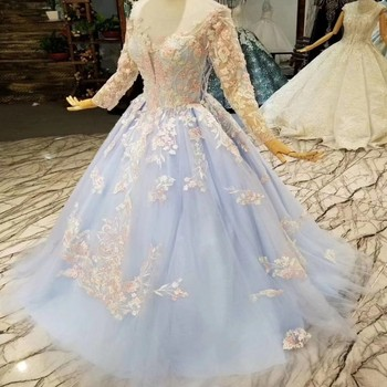 Long Evening Dress Ball Gown Leaf Lace Applique High Quality Tulle Transparent Sleeves Prom Gown Pageant Dress