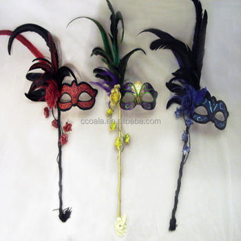 Mardi Gras Feather Venetian Women's Masquerade Mask on a Stick