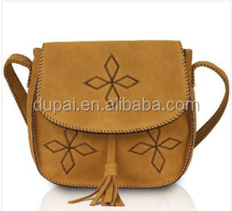 handmade women bag Hand embroidery imitation leather tassels buckle small bag