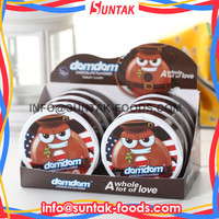 Chocolate Flavored domdom Tablet Candy in PP Round Box Sugar Free Mints
