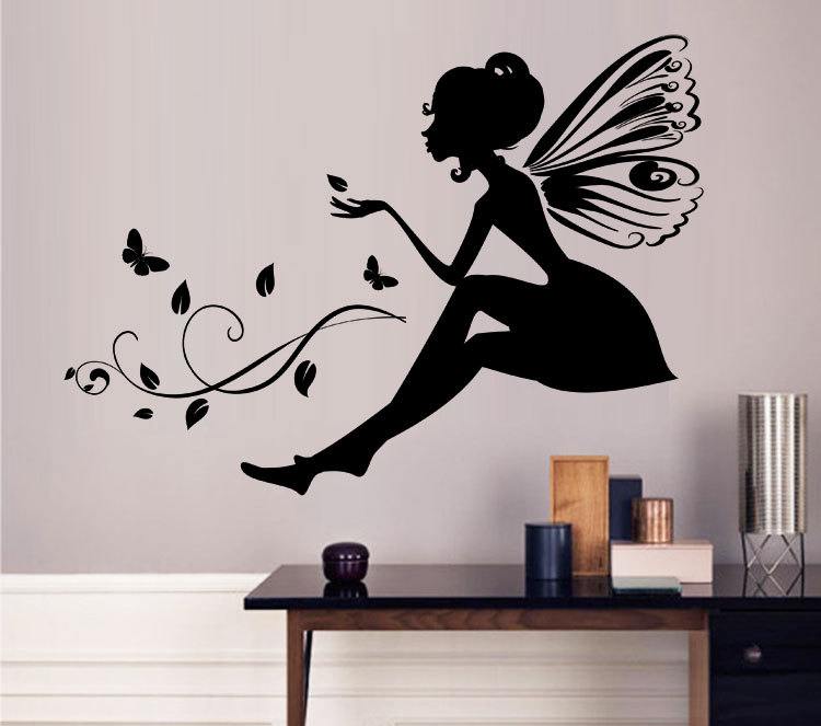 custom flower fairy wall stickers living room girl's room nursery decor pvc vinyl transfer film butterfly wall decals