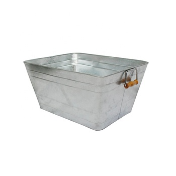 Galvanized Steel with Sturdy Handles on 2 sides for easy Carrying Square Tub
