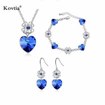 Yiwu Fashion Blue Heart Bridal Necklace Earrings Bracelet Set Fake Shire Wedding Jewelry Sets