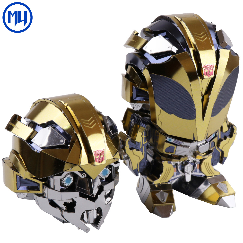 Hasbro Genuine Licensed Transformer Metal Puzzle Model Changable Head Bumblebee 3d diy Magnetic Assembly Puzzle toys for Adults