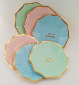 Happy Birthday Party Paper Plates Cups Mint Pink Blue and Gold Disposable Tableware Girls/Boys & Happy Birthday Party Paper Plates Cups Mint Pink Blue And Gold ...