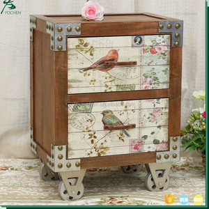 Home Decor With Wheels 2 Drawer Wood Printed Chinese Antique Cabinet