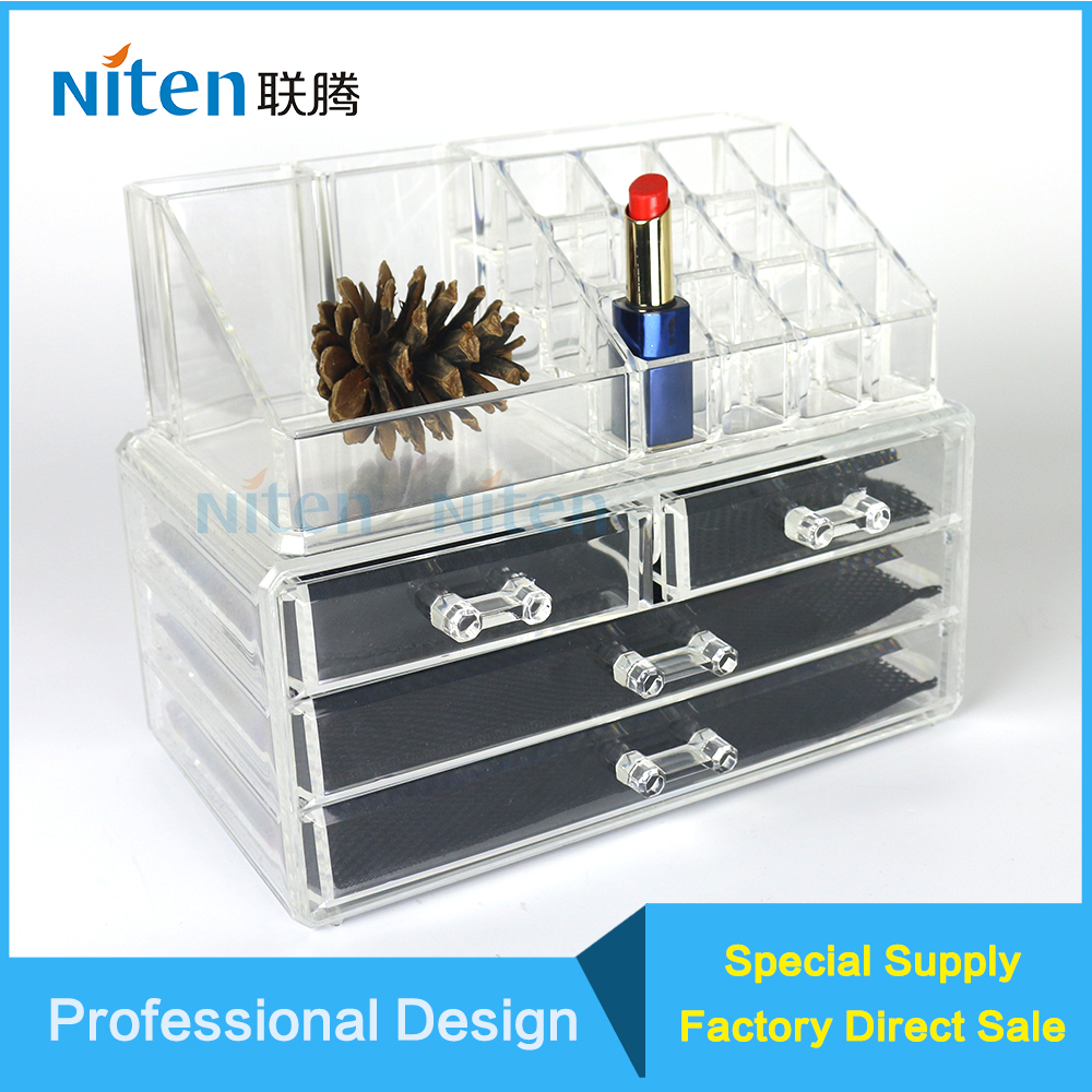 3 drawer acrylic makeup organizer with Small acrylic box for lipstick