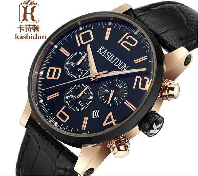 3098a406cee1 ... reloj de pulsera multifunción para hombres. KSD famous Brand Genuine  Leather strap watches quartz watches diver men s casual watch multi function